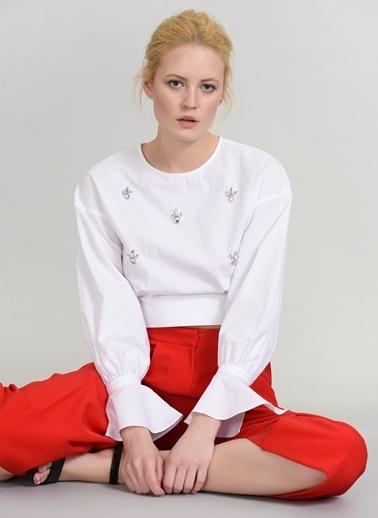 People By Fabrika Taş İşlemeli Bluz Beyaz